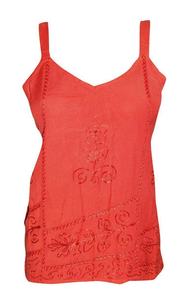Women's Top, Strappy Tank Top, Summer Red Embroidered V Neckline Boho Tops, BeACH Tops SM - mogulgallery