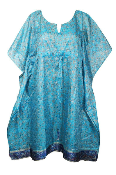 Womens Caftan Dresses, Ethical Boho Tunic, Beach Coverup Dress, Sky Blue Printed House Dress, Kaftan Resort Dresses L-3XL, One size - mogulgallery