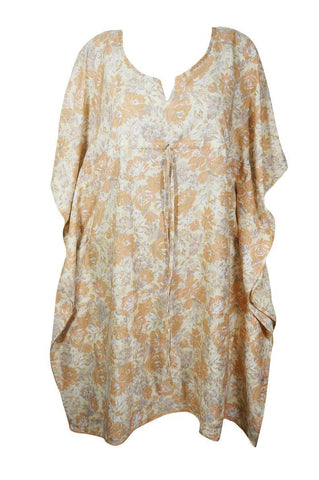 Womens Kaftan Dresses, Nightgown housedress, Soft Kaftan, Off White Peach Floral Dress, Patio Dresses L-3XL, One size - mogulgallery