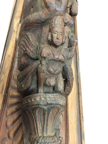 Indian Antique Corbels Bracket Hand Carved Ganesha Wood Shabby Chic Interiors - mogulgallery