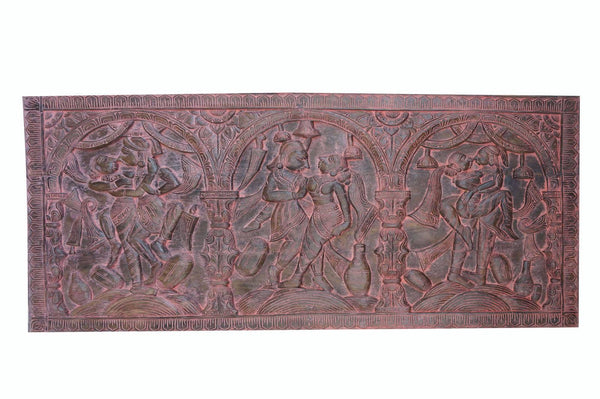 Eclectic Vintage Wood Pink Patina Headboard Hand carved Kamasutra WALL SCULPTURE ART Chic Bohemian - mogulgallery
