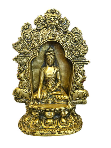 Vintage Meditating Buddha Temple Sculpture Yali Lion Arch Frame Brass Statue Yoga Studio Conscious Decor - mogulgallery