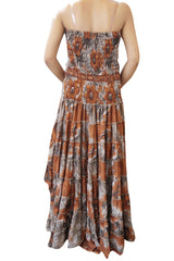 Flower Child Maxi Dresses Recycled Sari Hi Low Dress Floral Print Strapless Boho Dress Bohemian Chic Beach  M/L