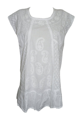 Womens Bohemian White Tunic, SLEEVELESS, Soft Cotton Paisley Embroidered Loose Blouse Top XL - mogulgallery