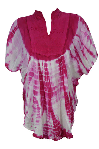 Beach Cover, Pink Tie Dye Cover Up. Top Kimono Style. Gypsy Boho Chic. Summer Fashion. Rayon Loose Comfy Blouse Kaftan Top - mogulgallery