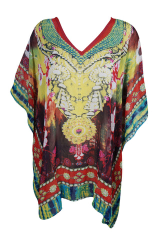 Boho Chic Womens Caftan Dress Vibrant Shades Lost In A Dream Digital Print V-Neck Sexy Bikini Beach Cover Up Kaftan One Size