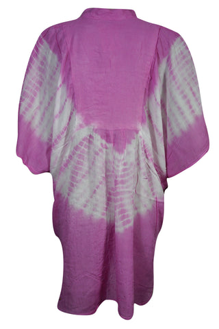 Pink tie dye caftan blouse coverup beach boho Loose Top Summer Fashion Bohemian hippy gypsy Blouse onesize