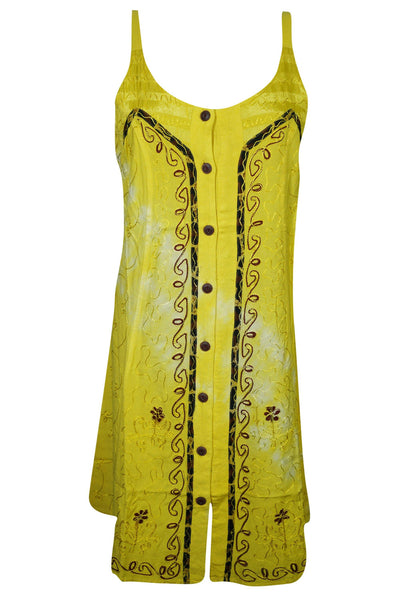 BOHO Summer DRess, Yellow Button Front Strap Dress, Embroidered Scoop Neck Beach Dresses S/M - mogulgallery