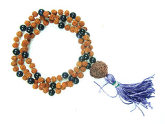 THIRD Eye CHAKRA Buddhist Necklace Rudraksha AMETHYST 108  Mala Beads Meditation Yoga Jewelry - mogulgallery