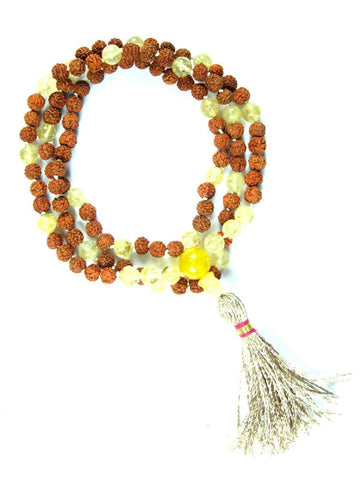 RELATIONSHIPS Yellow Citrine Mala Beads Rudraksha Prayer Chakra Stone Japamala Yoga Necklace - mogulgallery