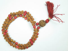 Meditation Prayer Mala Beads Red Coral Rudraksha Healing Chakra Stone Japamala Yoga Necklace - mogulgallery