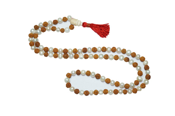Buddhist Mala beads Clearing Energies Pearl Moon Beads Rudraksha Japamala Yoga Necklace Healing Jewely - mogulgallery