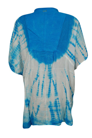 Boho BLUE Blouse, Tie Dye Cover Up Top Gypsy Summer Loose Comfy Beach Kaftan Coachella 2X - mogulgallery