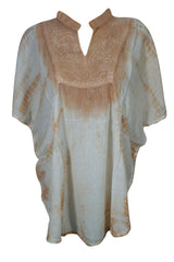 Kaftan Top Ivory Brown Tie Dye Cover Up Top Kimono Style Gypsy Boho Chic Summer Fashion Rayon Loose Comfy Blouse