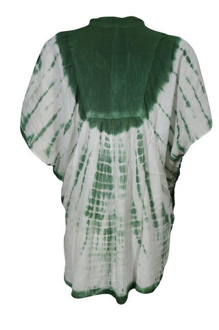 Boho Blouse Green Tie Dye Top Summer Gypsy Boho Chic Fashion Loose Comfy BEACH COVER Blouse xlarge - mogulgallery