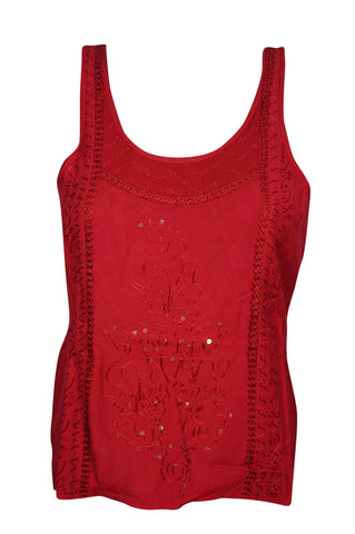 Sexy Back Red Top Sequin Work Embroidered Sleeveless Boho Style Scoop Neck Gypsy Tops - mogulgallery
