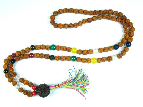 Meditation Yoga Spiritual Mala Beads Navgraha Nine Stone Rudraksha Yoga Prayer Mala Necklace - mogulgallery