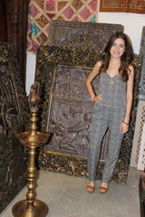 Womens Jumpsuit, Boho Black Printed Bohemian Casual Romper Dress S - mogulgallery