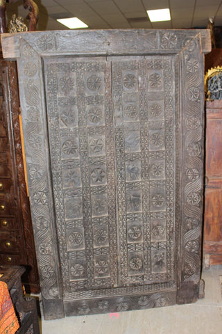 18c Antique INDIA Tribal Door With Frame, OLD World Chakra Carved PRIMITIVE Yoga Decor, Architecture Design - mogulgallery
