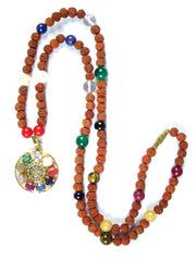 Sacred Geometry Sri Yantra Yoga Mala Necklace 9 Planet Rudraksha With Navaratan Pendant Prayer Beads for Meditation - mogulgallery