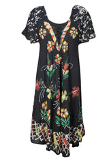 Beach Breeze Cover Up Dresses, Floral Tank Dress Black Cap Sleeves, Loose Fit Flared Boho Chic Dresses ML - mogulgallery