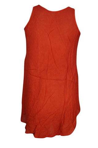 Womens Sexy Red Tunic Top Sleeveless Round Neck Bohemian Fashion Blouse - mogulgallery