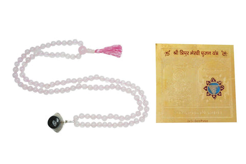 Love Rose quartz mala Evil eye Protection pendant Mala Beads Spiritual Sacred Geometry Yantra - mogulgallery