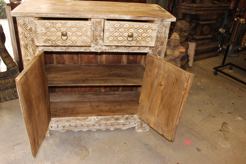 Vintage White Chest Sideboard Side Table NIGHTSTAND Hand Carved 2 Drawer Solid Wood Bohemian Farmhouse Design - mogulgallery