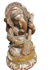 Ganesha Stone Statue Playing Violin Seated on Lotus Base handcarved stone Meditation YOGA ALTAR GIFT - mogulgallery
