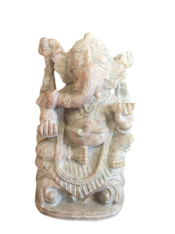 Ganesha Idol Figurine Gorara Stone Statue Meditation Sculpture Lord of Success Remover of Obstacles - mogulgallery