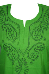 Womens Green Cotton Tunic, Boho Blouse Paisley Embroidered Beach Dress S - mogulgallery