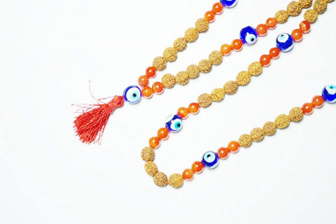 Rudraksha with Chakra Carnelian Mala to Increase Personal Power and Physical Energy - mogulgallery