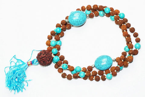 Jewelery Turquoise Rudraksha Intution Purification Necklace Buddhist Knotted 108 Mala Beads - mogulgallery