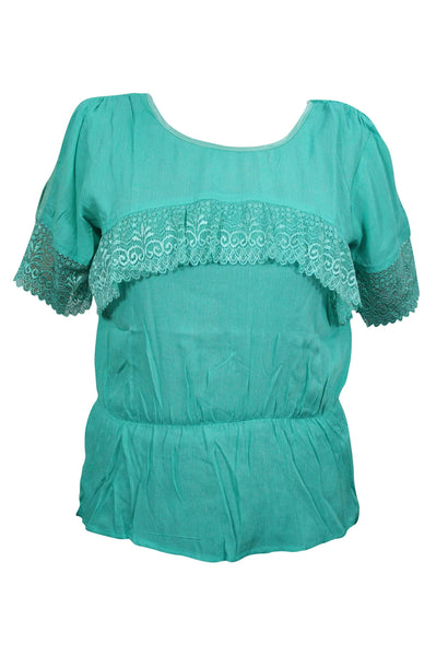 Bohemian Blouse, Gypsy Top, Green Lace Top, Hippy Chic Short Sleeves Boho Blouse M - mogulgallery