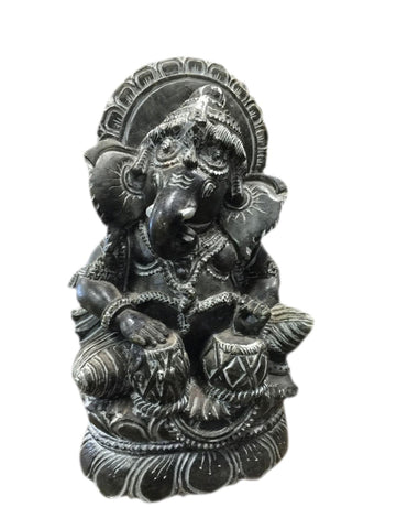 Ganesha Statue, Black Reverse Carving Ganesh Playing Tabla Sculpture , Spiritual Altar, Success 6 inches - mogulgallery