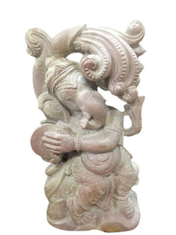 Ganesha Spiritual Carved Precious Stone Statue Playing With Cymbals Decorative Statue - mogulgallery