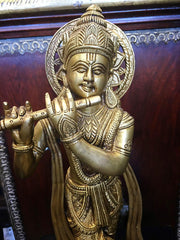 Brass Krishna Statue Standing Krishna Playing the Flute Figurine Brass Idol For Worship, Temple and Decor - mogulgallery