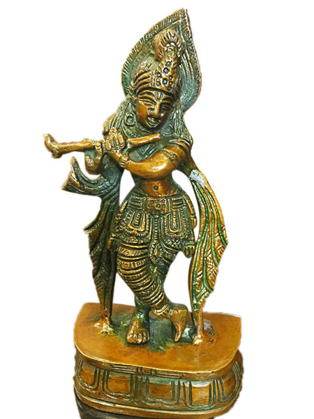 Studio Decor Lord Krishna Brass Sculpture Playing Flute 7 Inch Religious Gift - mogulgallery