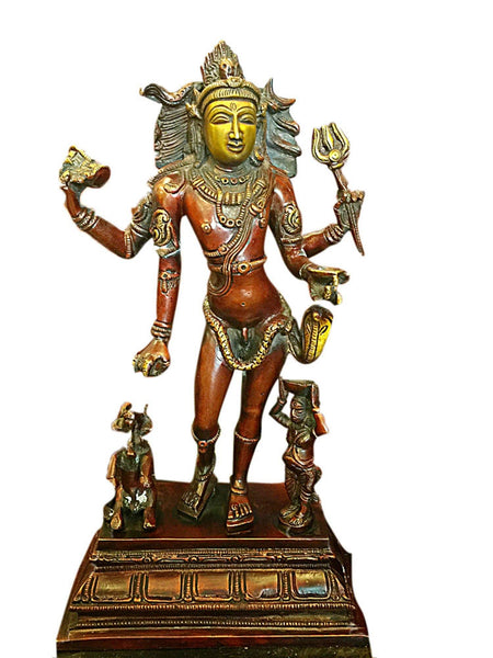 Bhikshasthana Shiva Brass Statue Yoga Room Temple Decoration Sculpture - mogulgallery