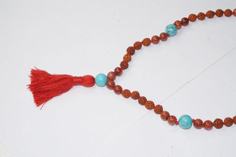 Love Protection Chakra Necklace Turquoise Sunstone Prayer Mala Beads Meditation Rudraksha Prayer Gemstone Mala Yoga - mogulgallery
