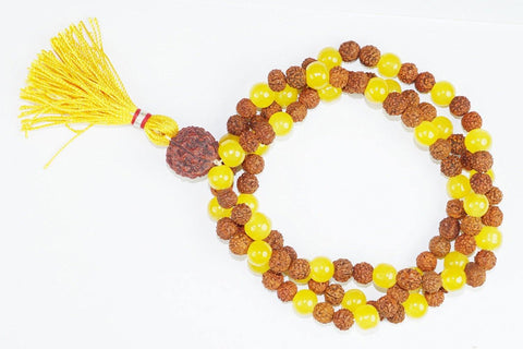 Buddhist Prayer Japamala Rudraksha Healing Yellow Jade Prayer Mala Bring Happiness - mogulgallery