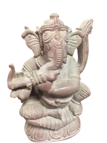 Ganesha Playing with Flute Good Luck Stone Statue Home Relaxing Garden Decor - mogulgallery