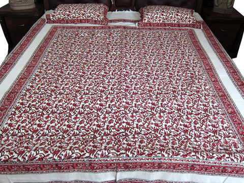 3pc Boho Indian Bedding Cotton Bedspreads Cotton Tapestry Bedspreads White Maroon Floral Printed Indian Bedding - mogulgallery
