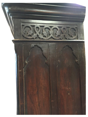 Antique India Wardrobe Cabinet, Carved Armoire Rosewood Etched Mirror Original Indo British Storage Holistic Design - mogulgallery