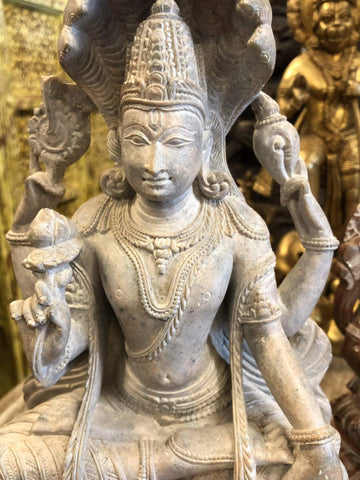 Vintage Vishnu Seated Under Ananta Snake , Stone Statue Holistic Yoga Interiors Wellness Design Handcarved Sculpture 10 inches - mogulgallery