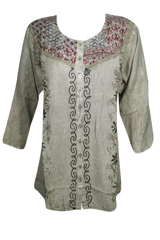 Boho Chic Button Front Hippie Top With Flower Embroidery Long Sleeves Tunic Blouse S/M - mogulgallery