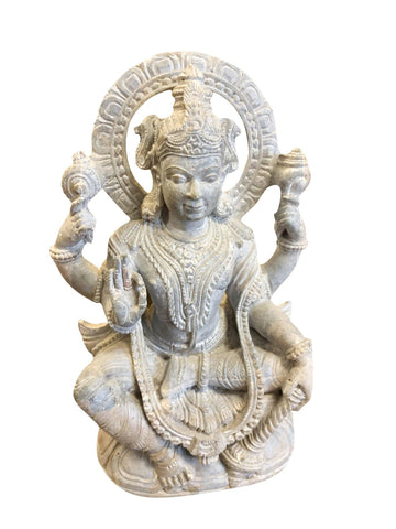 Vishnu Seated, Blessing Vishnu Peaceful Yoga Stone Statue , Handmade Sculpture Home Altar Decor Spiritual Idol - mogulgallery