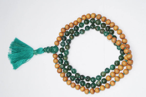Heart Chakra Mala Green Aventurine & Sandalwood Necklace Green Silk Tassel 108 Beads Meditation Necklace Handmade - mogulgallery