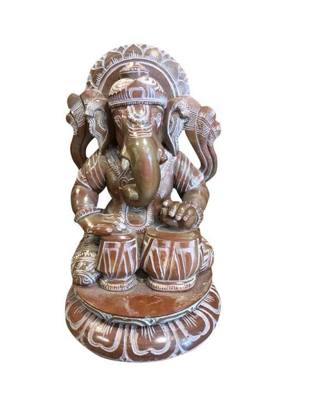 Musical Ganesha Statue Hindu Elephant Playing Tabla Statue Religious Lord Sculpture God of Success - mogulgallery