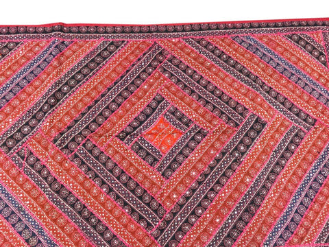 Bohemian Ethnic Indian Decorative Tapestry Pink Blue Patchwork Wall Hanging Home Decor - mogulgallery